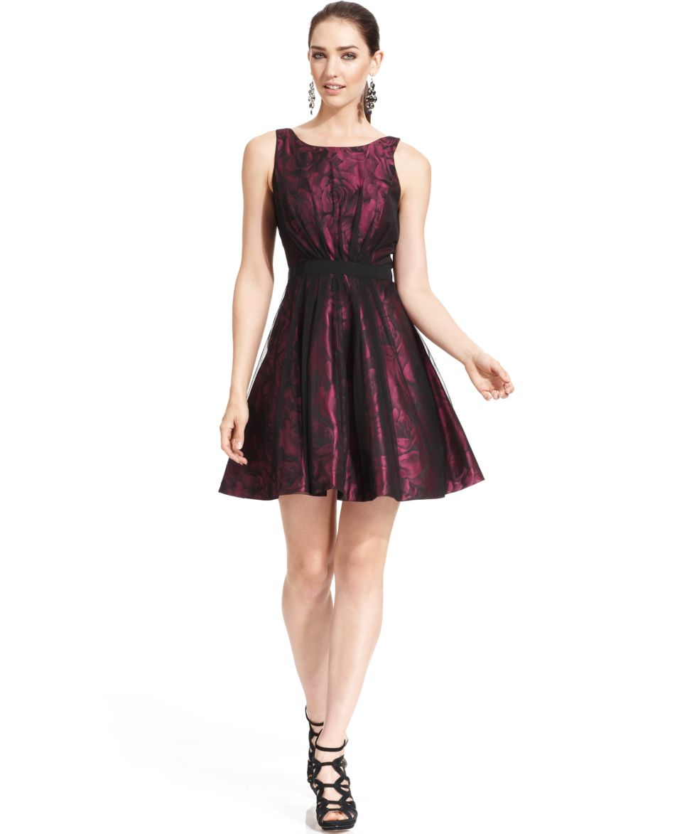 Jessica Simpson Sleeveless Floral Print A Line Dress   Dresses   Women