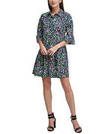 DKNY Printed Drop-Waist Shirtdress