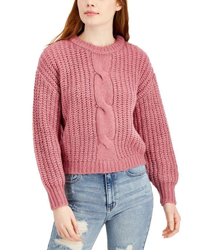 Belle Du Jour - Juniors' Cable-Knit Balloon-Sleeve Sweater