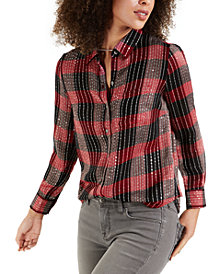 Style & Co Petite Sparkle Plaid Shirt, Created for Macy's