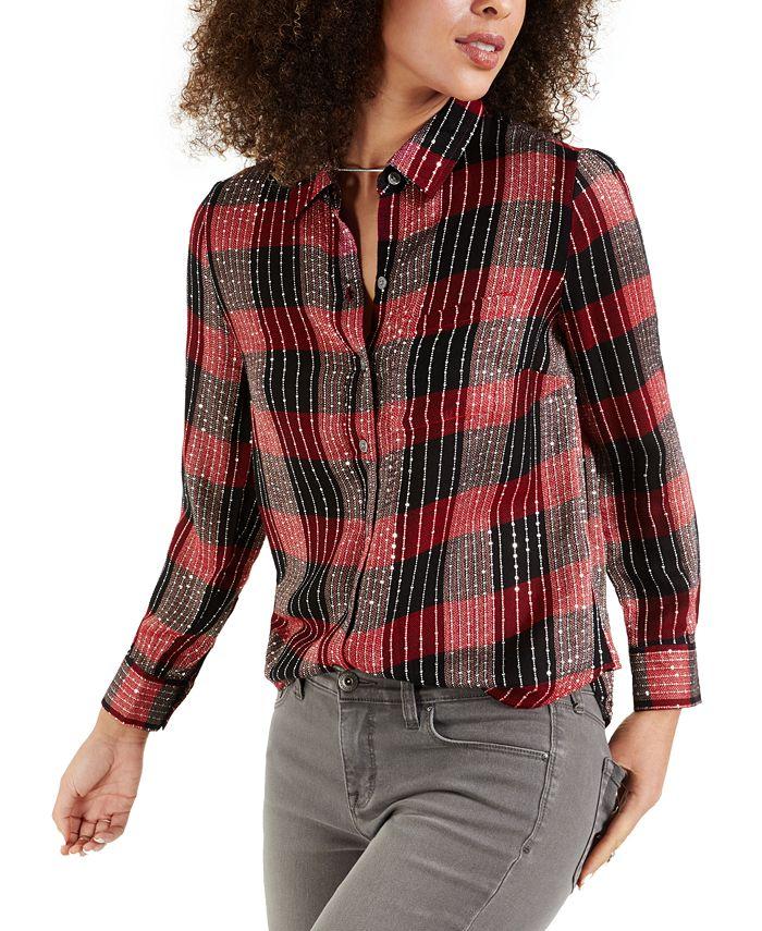 Style & Co - Petite Sparkle Plaid Shirt