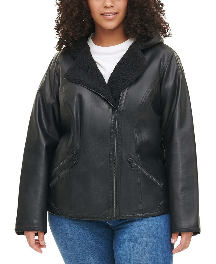 Levi's - Plus Size Faux Sherpa-Lined Hooded Moto Jacket
