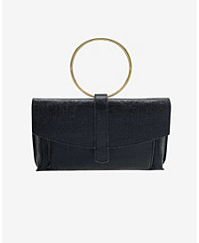 La Regale Metallic Coated Envelope Clutch with Ring Handle