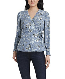 Women's Antique Like Floral Printed Side Tie Wrap Top