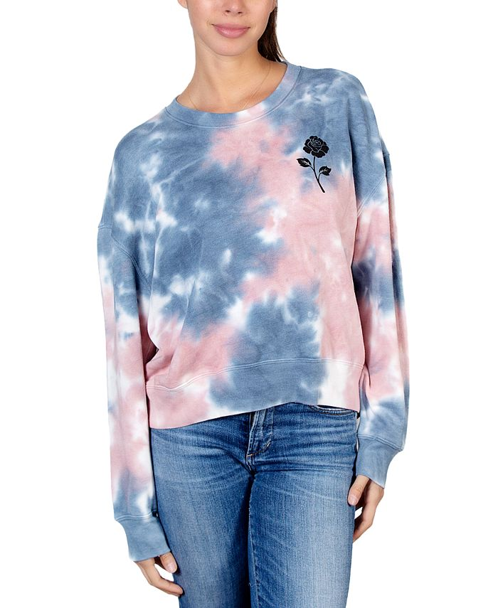 Rebellious One - Juniors' Rose Graphic Tie-Dyed Sweatshirt