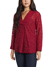 Women's Long Sleeve V-Neck Jacquard Tunic