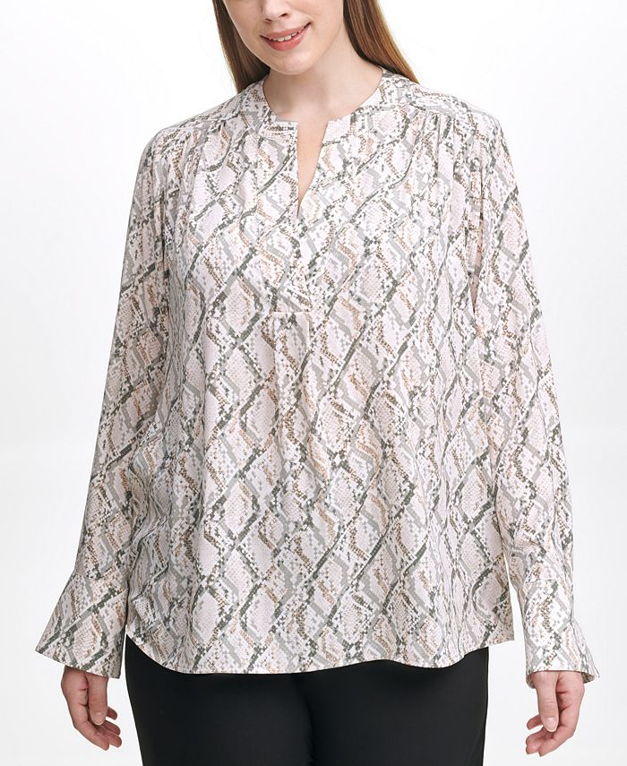 Calvin Klein - Plus Size Printed Split-Neck Top
