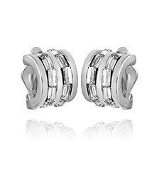 T Tahari Women's Crystal Baguette Hoop Earring
