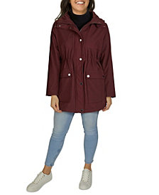 Kenneth Cole Women's Plus Size Hooded Anorak Rain Coat