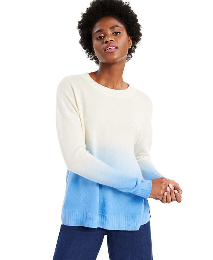 Charter Club - Cashmere Dip Dye Long-Sleeve Crewneck Sweater, Created for Macy's