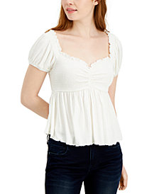 Almost Famous Juniors' Puff-Sleeve Babydoll Top