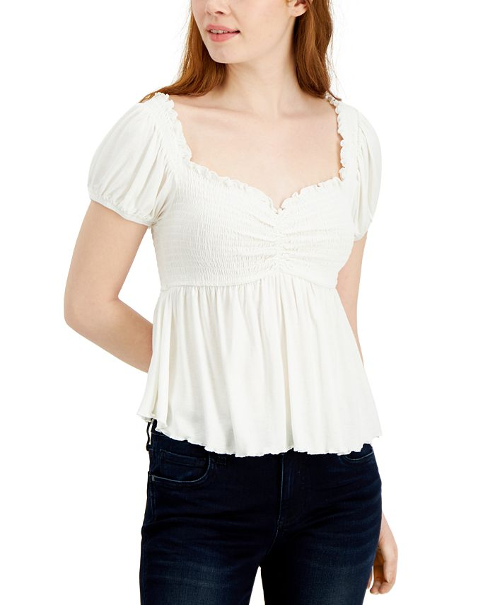 Almost Famous - Juniors' Puff-Sleeve Babydoll Top