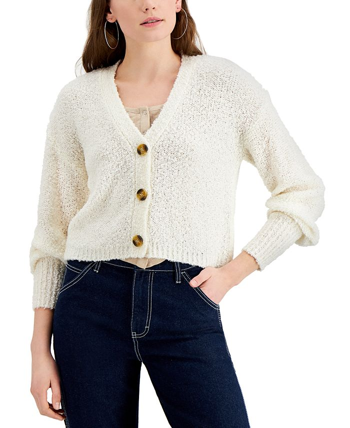 Hooked Up by IOT - Juniors' Textured Button-Front Cardigan