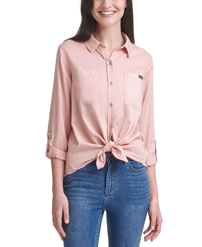Calvin Klein Jeans - Button-Front Roll-Tab-Sleeve Top