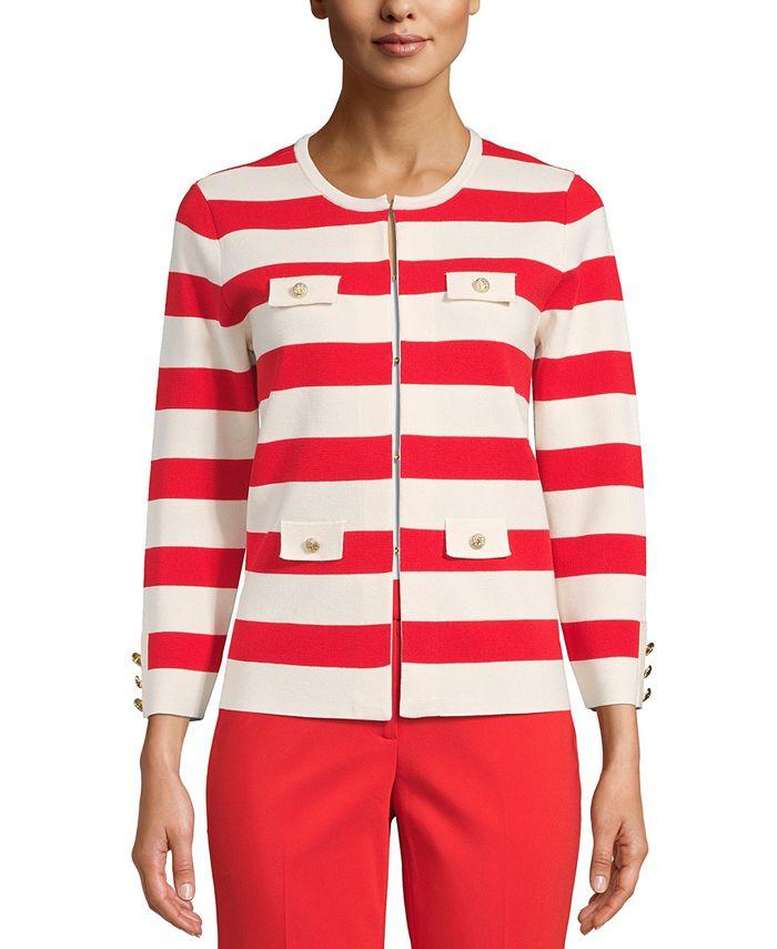 Anne Klein - Striped Open-Front Cardigan