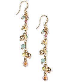 INC Gold-Tone & Multicolor Shaky Bead Charm Linear Drop Earrings, Created for Macy's