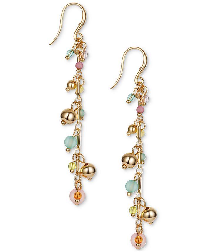INC International Concepts - Gold-Tone & Multicolor Shaky Bead Charm Linear Drop Earrings