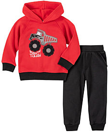 Kids Headquarters Toddler Boys 2-Piece Dump Truck Fleece Top with Fleece Pant Set