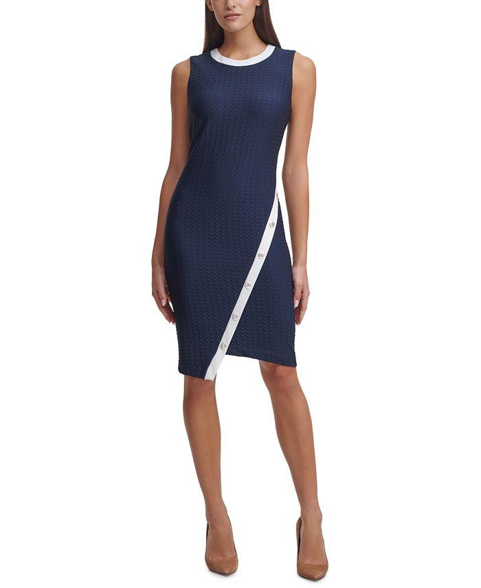 Tommy Hilfiger - Asymmetrical Contrast-Trim Sheath Dress