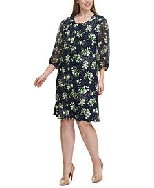 Tommy Hilfiger Plus Size Chiffon-Sleeve Shift Dress