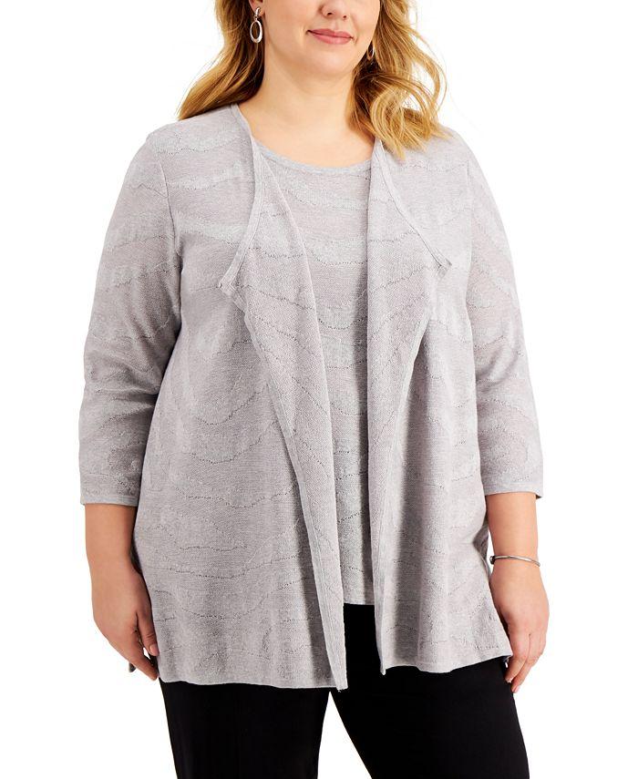 Kasper - Plus Size Open-Front Cardigan