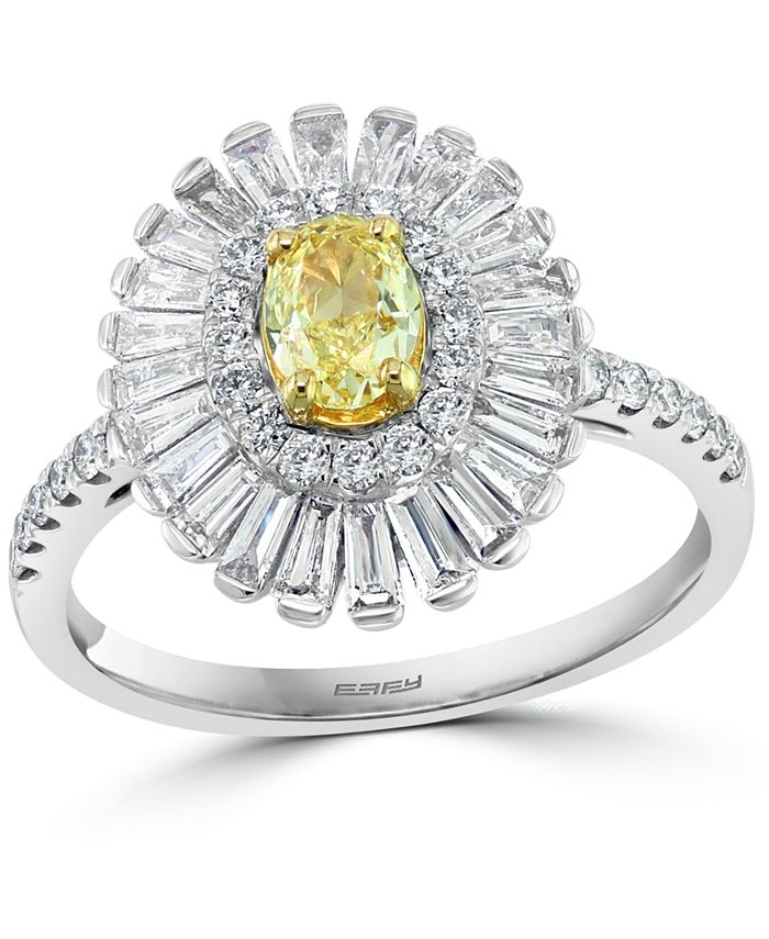 EFFY Collection - Yellow & White Diamond Baguette Halo Ring (1-1/4 ct. t.w.) in 18k Gold & White Gold