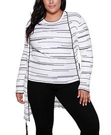 Belldini Black Label Plus Size Long Sleeve Cardigan With Belt