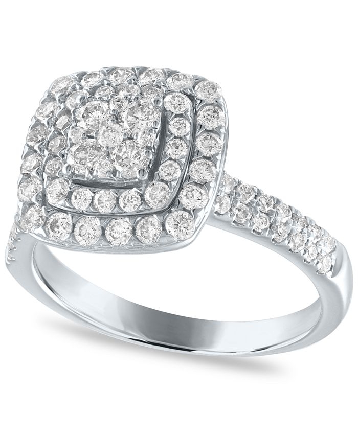 Macy's - Diamond Cushion Double Halo Cluster Engagement Ring (1 ct. t.w.) in 14k White Gold
