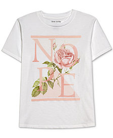 Love Tribe Juniors' Nope Floral-Graphic T-Shirt