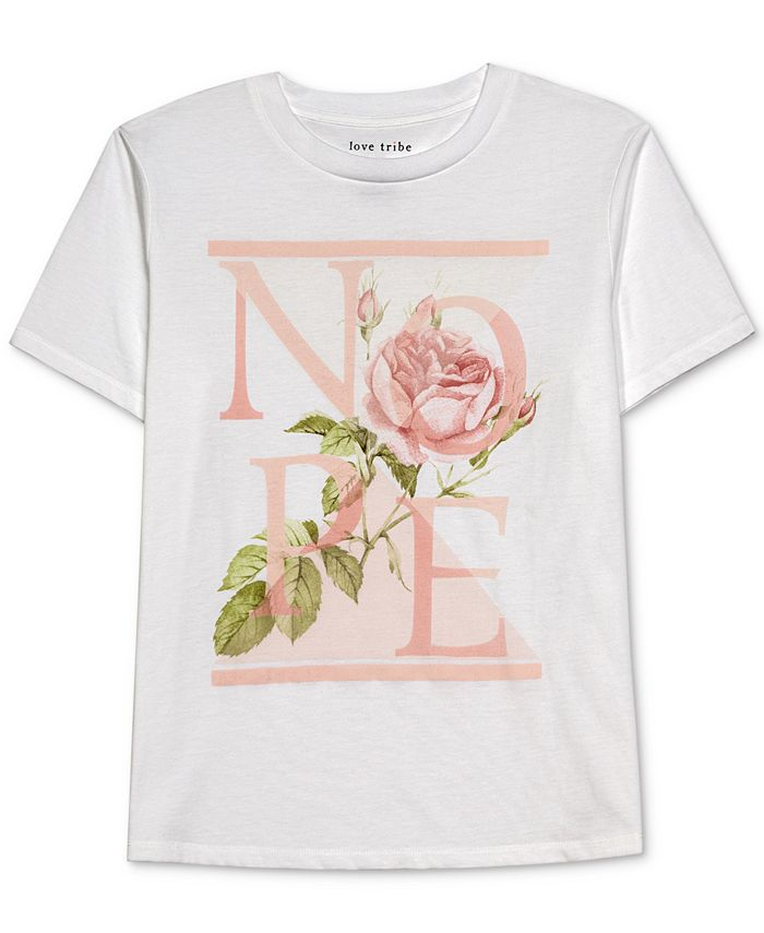 Love Tribe - Juniors' Nope Floral-Graphic T-Shirt