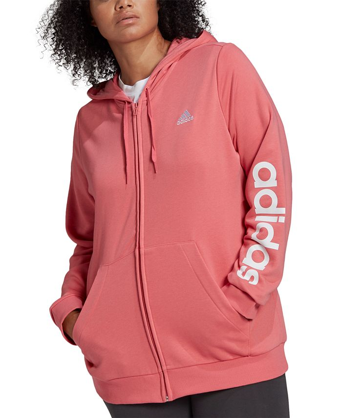 adidas - Essentials Plus Size French Terry Logo-Sleeve Hoodie