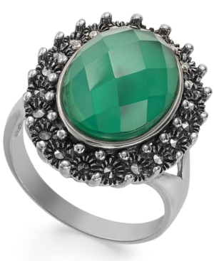 Genevieve & Grace Sterling Silver Green Agate and White Quartz Doublet (6 ct. t.w.) and Marcasite Ring