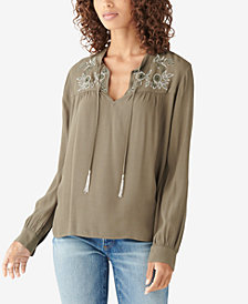 Lucky Brand Embroidered-Yoke Top