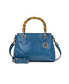 Patricia Nash Empoli Leather Satchel With Bamboo Handles