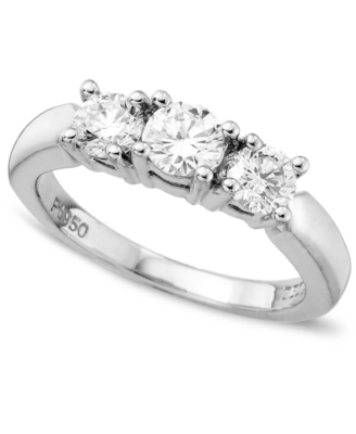 18k White Gold Certified Colorless Diamond Three-Stone Ring (1 ct. t.w.)