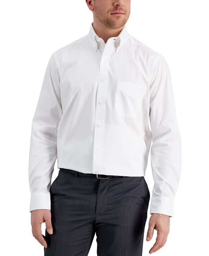Club Room - Men's Classic/Regular Fit Performance Easy-Care White Oxford Solid Dress Shirt