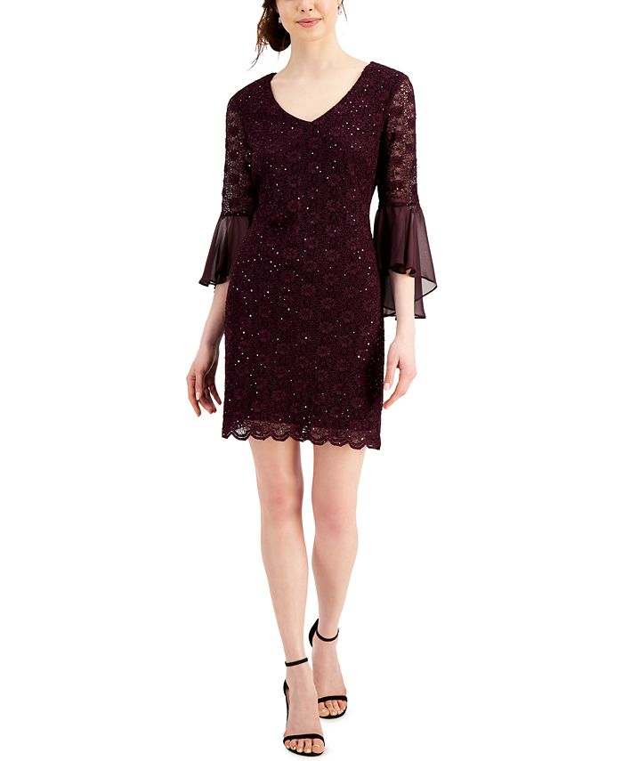 Connected - Bell-Sleeve Sequined Lace Dress