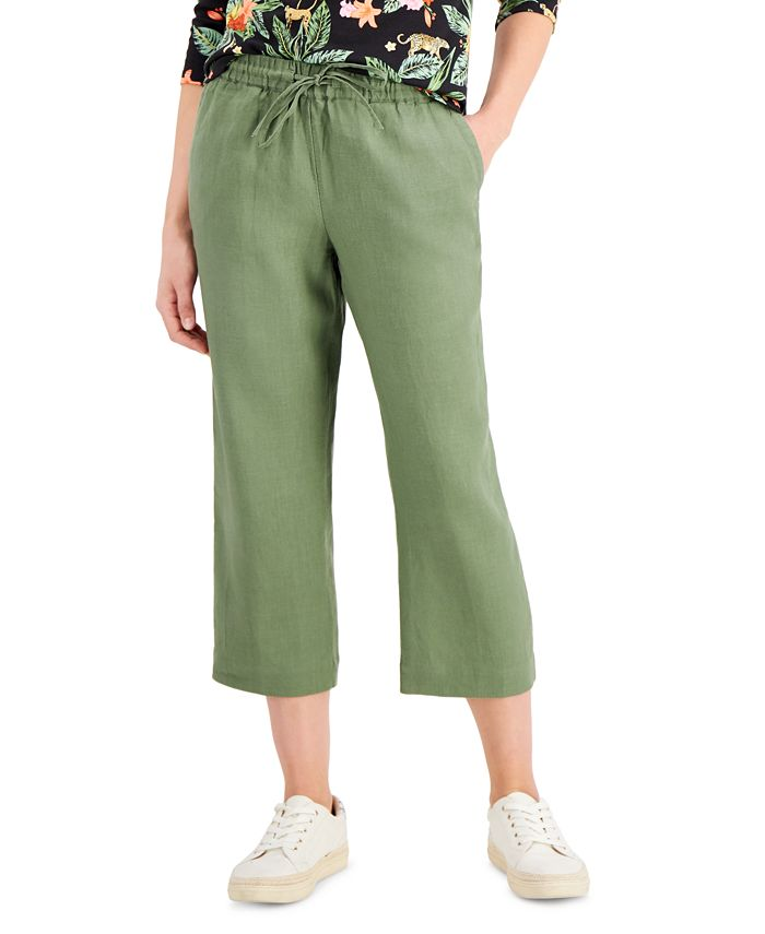 Charter Club - Cropped Tie-Waist Pants, Created For Macy's