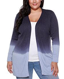 Belldini Copper Label Plus Size Women's Dip Dye Long Sleeve Cardigan