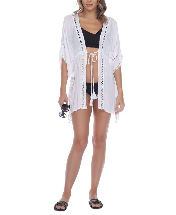 Raviya - Crochet-Trim Tie-Front Kimono Cover-Up