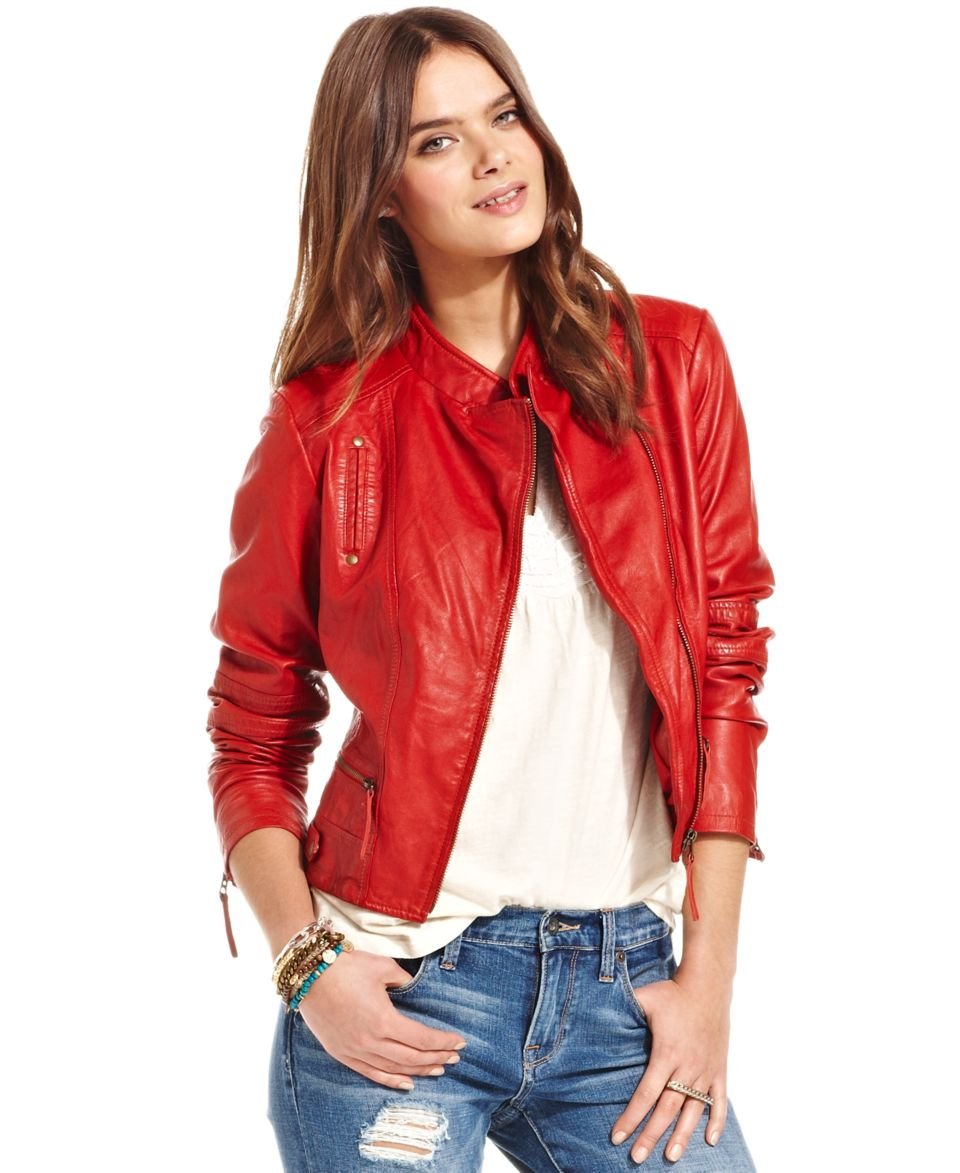 Lucky Brand Jeans Carson Perforated Leather Jacket   Women