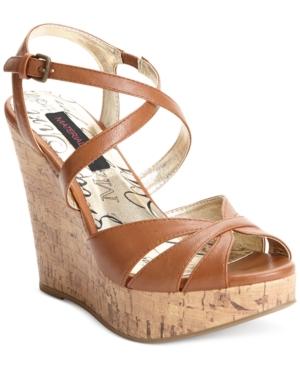 Material Girl Renee Cork Platform Wedge Sandals Womens Shoes