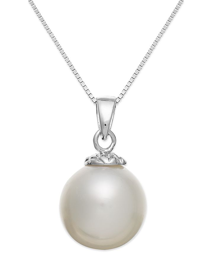 Macy's - 14k White Gold White South Sea Pearl Pendant Necklace (10mm)