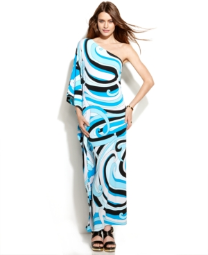 MICHAEL Michael Kors One-Shoulder Printed Maxi Dress