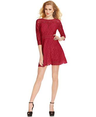 Cool  ScoopNeck ShortSleeve Lace Ruffled ALine  Womens Dresses  Macy39s