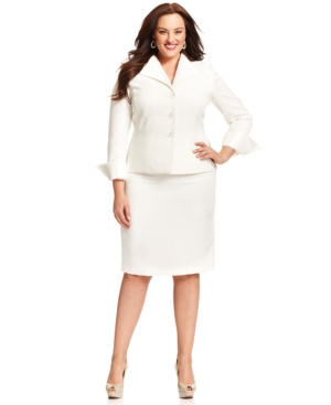 Le Suit Plus Size Jacquard Organza Skirt Suit