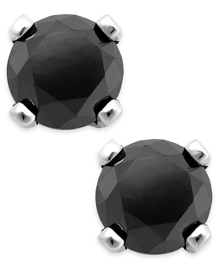 Macy's - Black Diamond Round Stud Earrings in 10k White Gold (1/3 ct. t.w.)