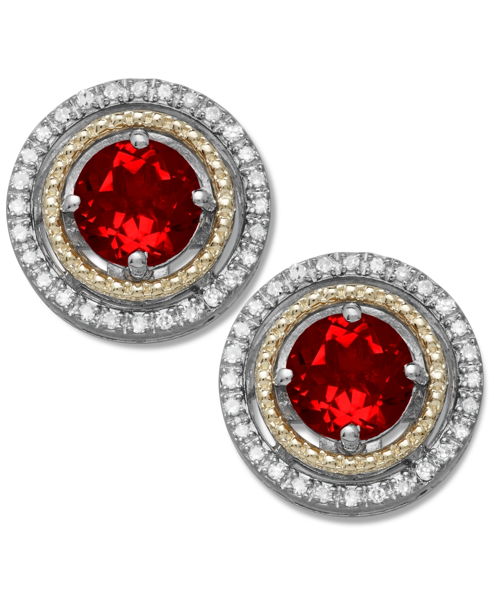 Garnet (1 1/4 ct. t.w.) and Diamond (1/8 ct. t.w.) Stud Earrings in 14k Gold and Sterling Silver   Earrings   Jewelry & Watches