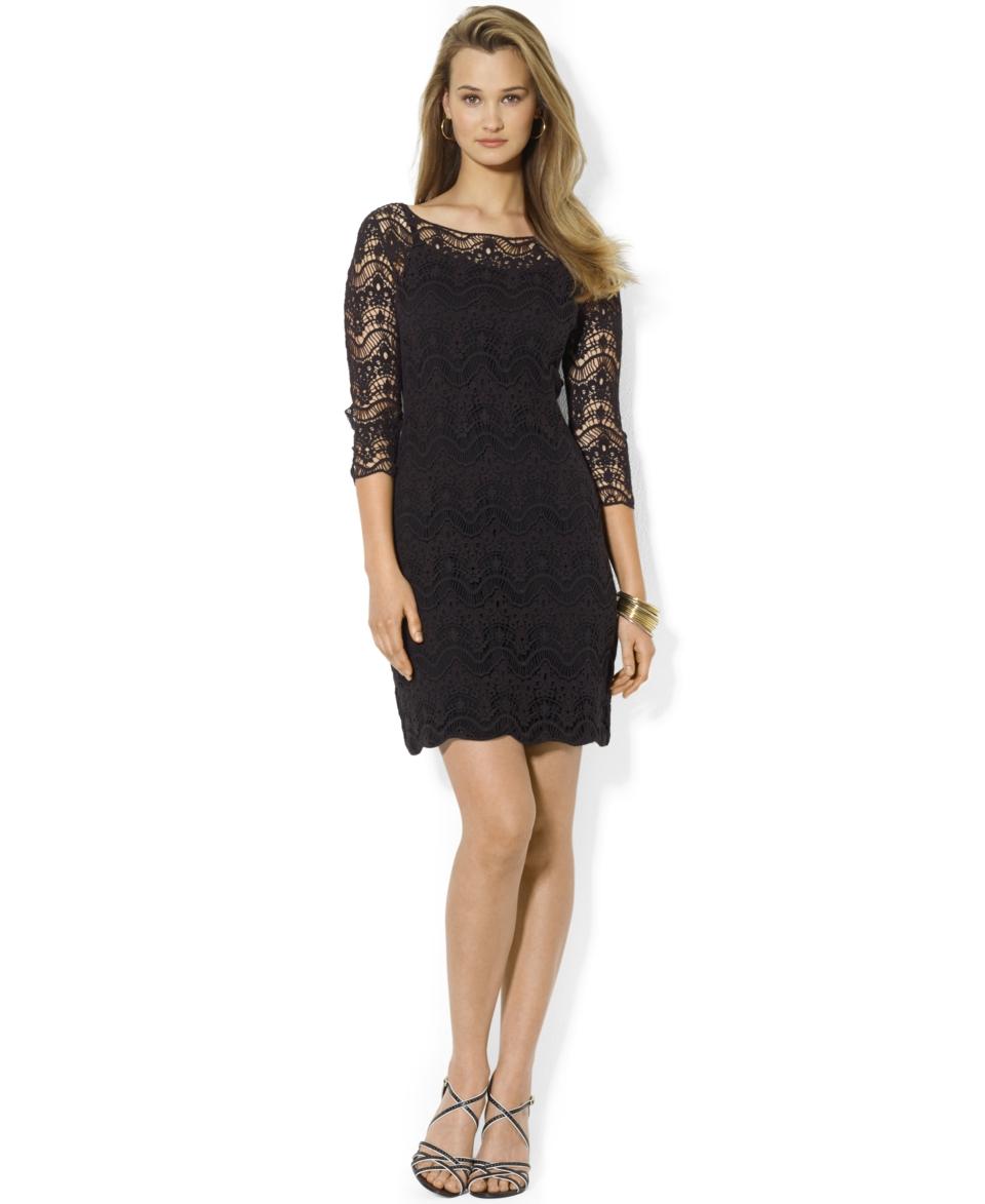 Lauren Ralph Lauren Petite Three Quarter Sleeve Lace Dress   Dresses   Women