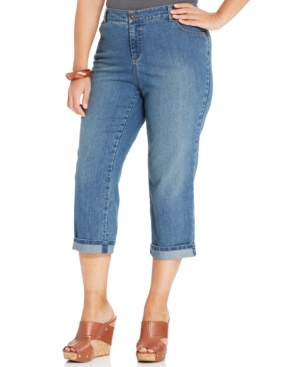 Style & co. Plus Size Tummy-Control Capri Jeans, Coastal Wash
